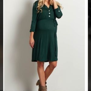 🆕Green Button Sash Dress- Pretty Forest Green!